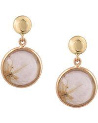 Trésor Golden Rutile Round Earrings In 18k Yellow Gold - Metallic