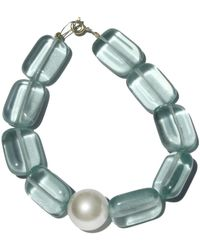 Roses Are Red Pearl & Aquamarine Bracelet - Green