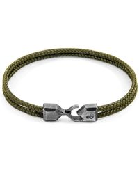 Anchor & Crew Khaki Green Cromer Silver & Rope Bracelet - Multicolour