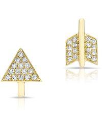 Anne Sisteron Yellow Gold Diamond Split Arrow Stud Earrings