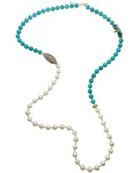 Farra Turquoise & Baroque Multi-way Necklace - Blue