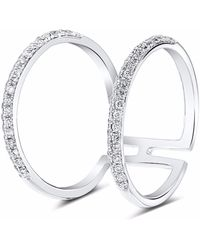 Cosanuova Wishbone Diamond Ring 18k White Gold - Metallic