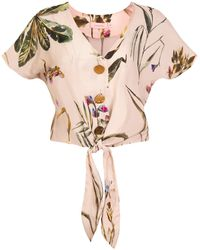TOMCSANYI Palma Tie Front Button Top 'light Botanical' - Multicolor