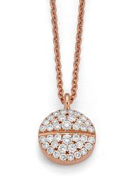 Candace Covelli - White Diamond Mirrored Pave Tablet Necklace Rose Gold - Lyst