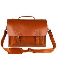 MAHI Tan Buffalo Leather Messenger Satchel Bag - Brown