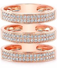 Anne Sisteron Rose Gold Diamond Large Triple Bar Ring