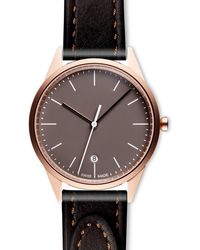 Uniform Wares Women's C36 Date Watch In Pvd Rose Gold With Tapered Brown Nappa Leather Strap - Multicolour