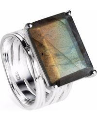 Neola - Pietra Sterling Silver Cocktail Ring With Labradorite - Lyst