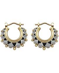 Mirabelle Creole Enamel Earrings Monochrome - Black