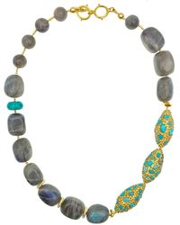 Farra Freshwater Pearls With Labradorite Double Strands Necklace - Blue