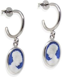 Vintouch Italy - Blue Mini Cameo Hoop Earrings - Lyst