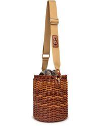 Thale Blanc Woven Basket Bag: Designer Vegan Bag In Camel Brown