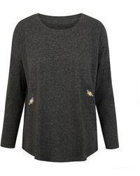 INGMARSON Bee Embroidered Slub T-shirt Grey Women