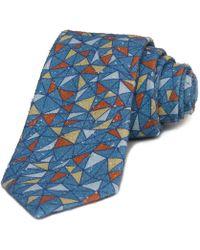 40 Colori - Teal Mosaic Printed Bourette Silk Tie - Lyst