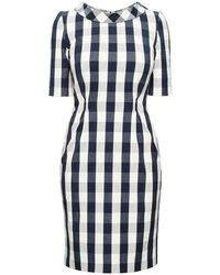 Rumour London Juliette Navy Stretch Cotton Gingham Dress With Raised Collar - Blue