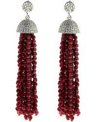 Cosanuova Sterling Silver Red Jade Tassel Earrings