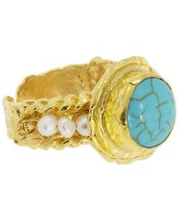 Ottoman Hands Elen Turquoise Stone & Pearl Beads Cocktail Ring - Blue