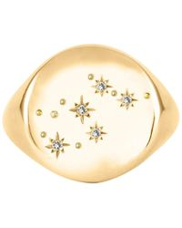 No 13 - Aquarius Constellation Signet Ring 9ct Gold & Diamonds - Lyst
