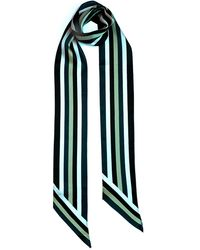 INGMARSON Henley Silk Stripe Neck Scarf Long Blue