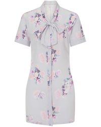 Sophie Cameron Davies Silk Bow Dress Rose Print - Multicolor