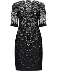 Rumour London - Printed Lace Monochrome Fitted Dress - Lyst