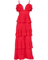 True Decadence Red Linen Tiered Ruffle Maxi Dress