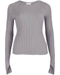 SALANIDA Ribbed Long Sleeve Top Grey