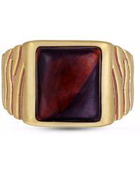 LMJ Chatoyant Red Tiger Eye Stone Ring - Metallic