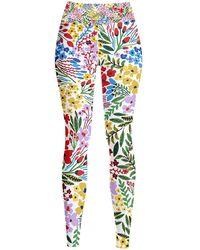 Jessie Zhao New York High Waist Yoga Leggings In Blooms - Multicolour