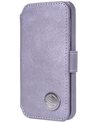 Drew Lennox - Iphone Luxury English Leather Phone Wallet With 3 Card Slots In Silver - Lyst