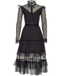 SELEZZA LONDON Viscose Tulle Midi Dress - Black