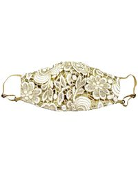 NARCES Adjustable Ivory Guipure Lace On Gold Lamé Mask - Metallic