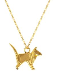 Origami Jewellery Sterling Silver & Gold Mini Cat Origami Necklace - Metallic