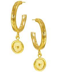 Ottoman Hands - Sun Charm Hoop Earrings - Lyst