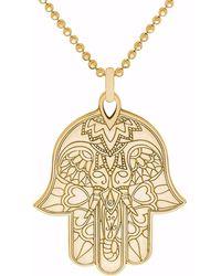 CarterGore Gold Hamsa Hand Pendant Necklace - Metallic