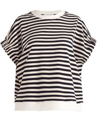 Paisie Striped Short Sleeve Sweatshirt In Navy And White - Blue