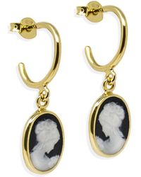 Vintouch Italy - Gold-plated Black Mini Cameo Hoop Earrings - Lyst