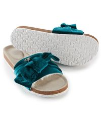 Pretty You London Velour Bow Footbed Sandal In Emerald - Green
