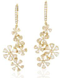 Artisan 18kt Yellow Gold Genuine Diamond Flower Shape Dangle Earring Handmade Jewellery - Metallic