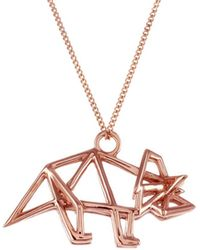 Origami Jewellery Frame Triceratop Necklace Rose Gold - Metallic