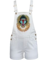 My Pair Of Jeans Baboon Short Overalls - White