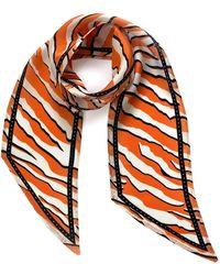 INGMARSON Wild Tiger Silk Neck Scarf Orange