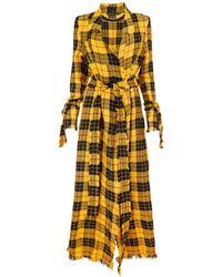 Sarah Regensburger Ritual Tartan Trench Coat - Yellow
