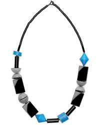 Scenery Label Oblong Bead Necklace - Gray