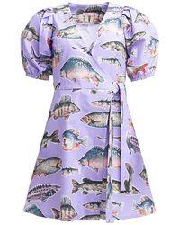 TOMCSANYI Pointy Puff Sleeve Dress Big Fish - Purple