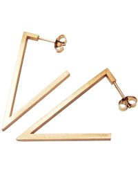 Stephanie Bates - Rose Gold Triangle Earrings - Lyst