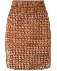 STUDIO MYR Pied-de-poule Knee Length Pencil Skirt - Brown