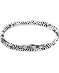 Anchor & Crew - White Noir Liverpool Silver & Rope Bracelet - Lyst