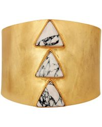 Carousel Jewels - Adjustable Gold Cuff With Howlite Triangles - Lyst
