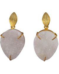 Magpie Rose White Druzy Drop Earrings